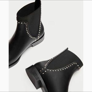 Zara black stud detail flat booties Sz 37 / 7